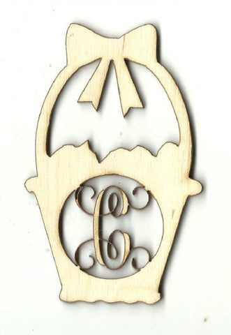Easter Basket Monogram - Laser Cut Wood Shape Mono6 Craft Supply