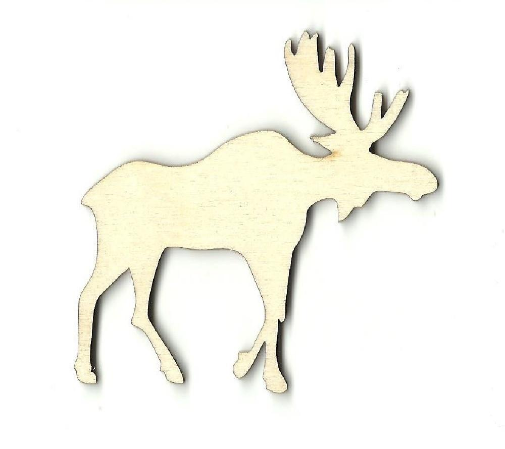 Moose - Laser Cut Wood Shape Mus1 Craft Supply