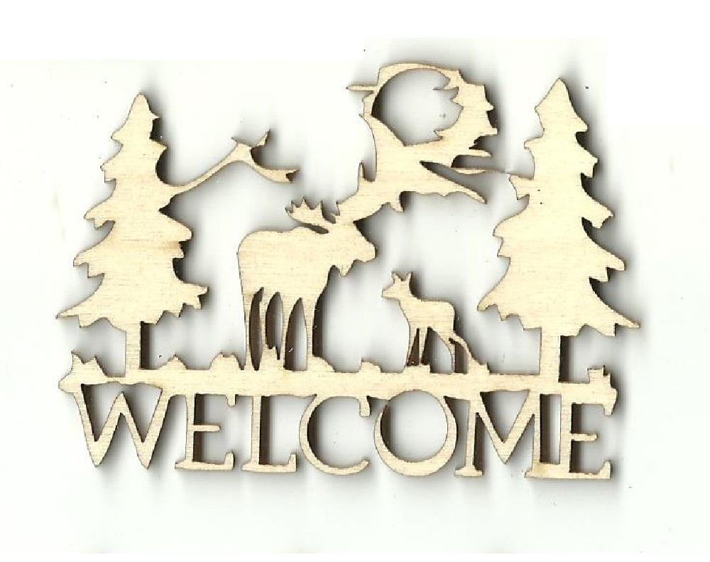 Moose Welcome Sign - Laser Cut Wood Shape Mus25 Craft Supply