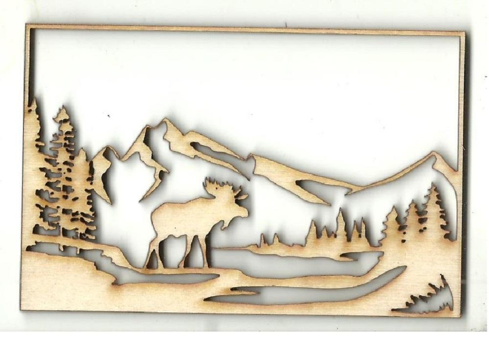 Moose Scene - Laser Cut Wood Shape Mus29 Craft Supply