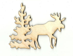 Moose Scene - Laser Cut Wood Shape Mus2 Craft Supply