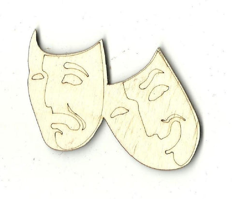 Comedy & Tragedy Masks - Laser Cut Wood Shape Mve8 Craft Supply