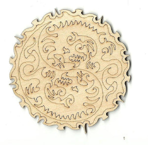 Yin Yang Dragons - Laser Cut Wood Shape Myth6 Craft Supply