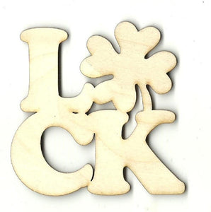 Luck Four Leaf Clover - Laser Cut Wood Shape Pat5 Craft Supply