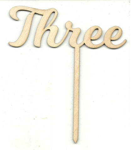 Number Three 3 Pick - Laser Cut Wood Shape Pic12 Craft Supply