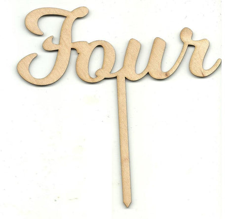 Number Four 4 Pick - Laser Cut Wood Shape Pic13 Craft Supply