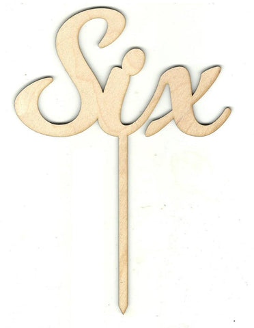 Number Six 6 Pick - Laser Cut Wood Shape Pic15 Craft Supply