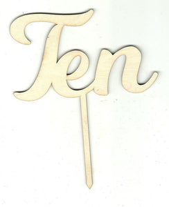 Number Ten 10 Pick - Laser Cut Wood Shape Pic19 Craft Supply