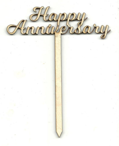 Happy Anniversary Cake Pick - Laser Cut Wood Shape Pic2 Craft Supply
