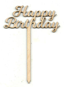 Happy Birthday Cake Pick - Laser Cut Wood Shape Pic3 Craft Supply