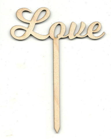 Love Cake Pick - Laser Cut Wood Shape Pic7 Craft Supply