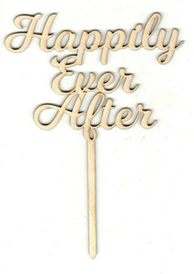 Happily Ever After Cake Pick - Laser Cut Wood Shape Pic8 Craft Supply