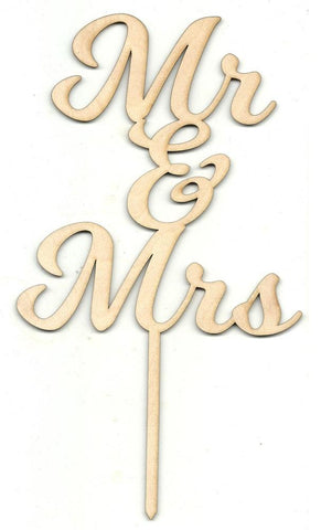 Mr & Mrs Cake Pick - Laser Cut Wood Shape Pic9 Craft Supply