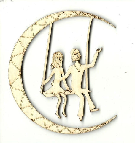Couple On A Moon Swing - Laser Cut Wood Shape Ppl183 Craft Supply