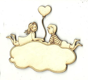 Couple On A Cloud - Laser Cut Wood Shape Ppl184 Craft Supply