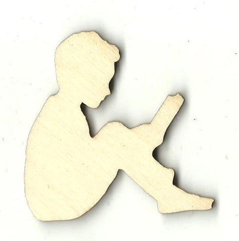 Boy Reading - Laser Cut Wood Shape Ppl186 Craft Supply