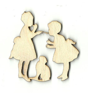 Two Girls And A Cat - Laser Cut Wood Shape Ppl28 Craft Supply