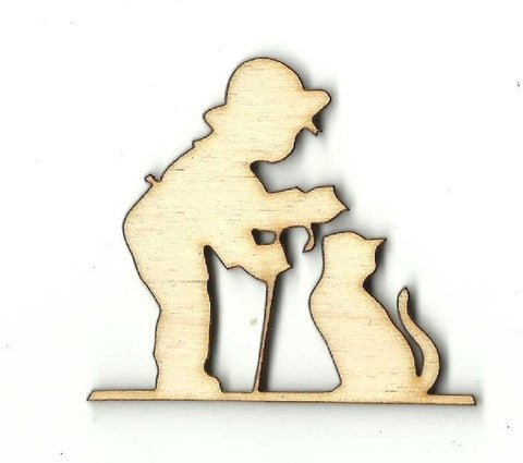 Boy With His Cat - Laser Cut Wood Shape Ppl117 Craft Supply