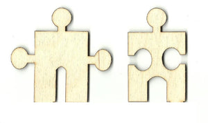 Pair Of Puzzle Pieces - Laser Cut Wood Shape Pzl1 Craft Supply
