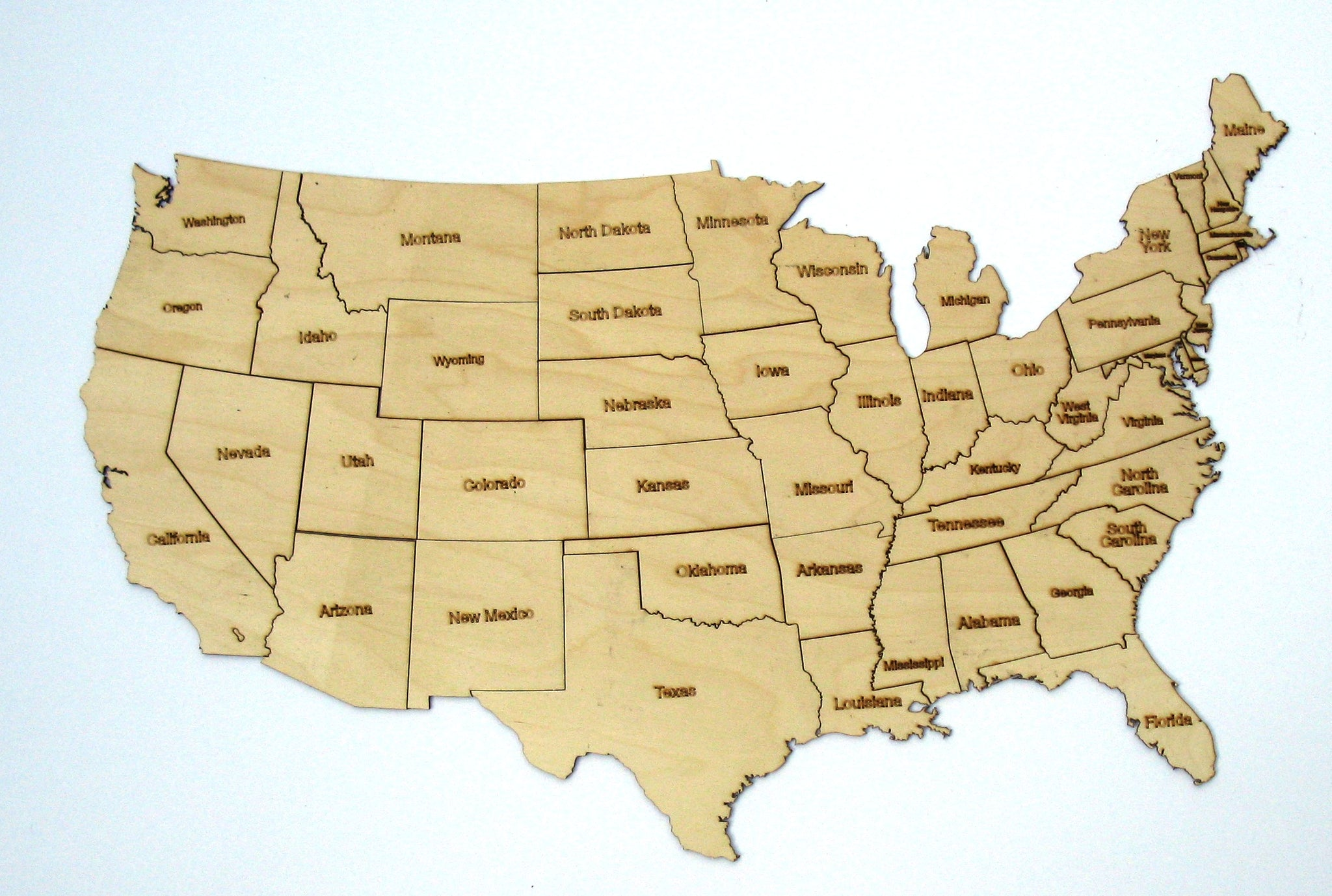 wooden united states map United States Map Puzzle   Laser Cut Wood Shape PZL5 – The Wood