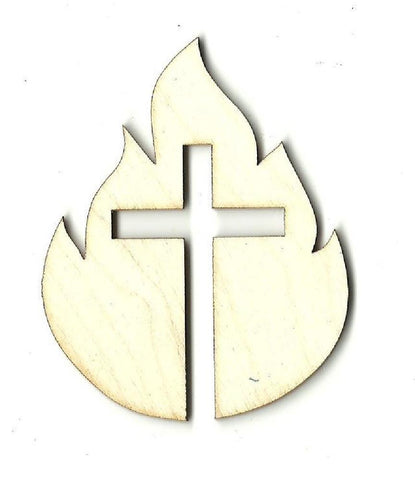 Cross & Fire - Laser Cut Wood Shape Rel41 Craft Supply