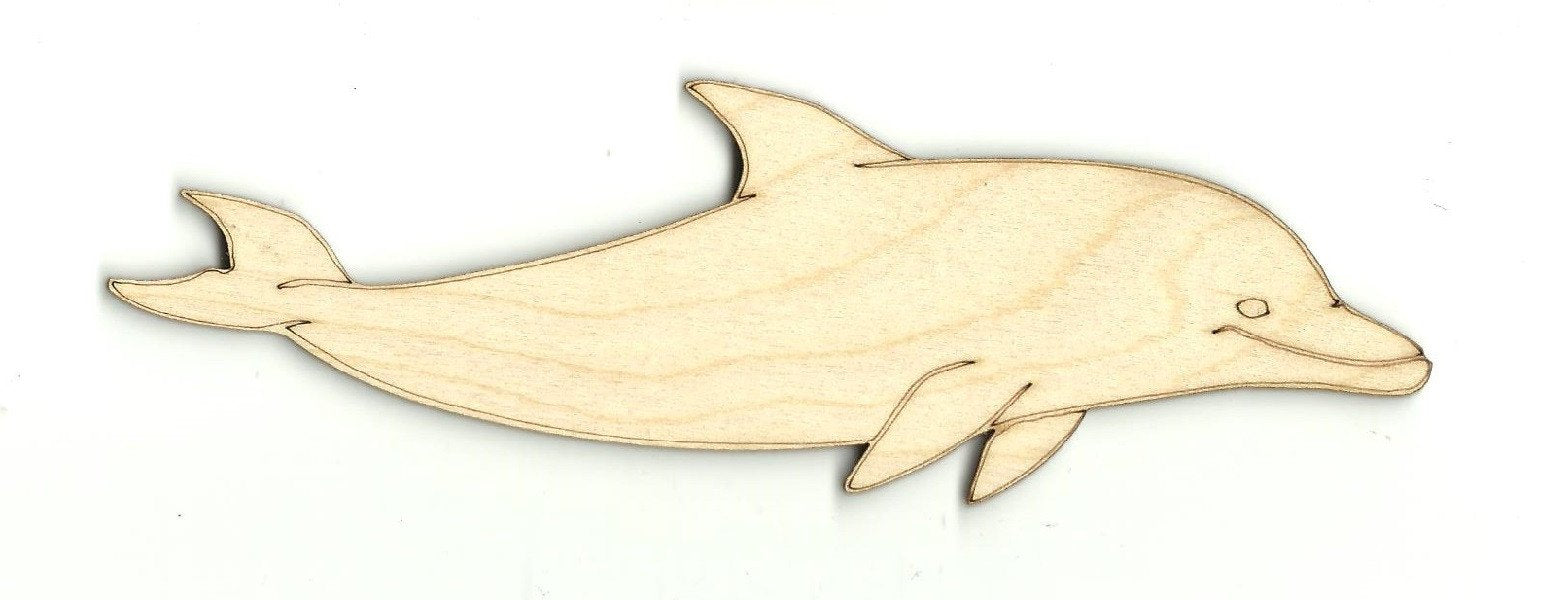 Dolphin - Laser Cut Wood Shape Sea49 Craft Supply