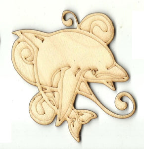 Dolphin - Laser Cut Wood Shape Sea85 Craft Supply