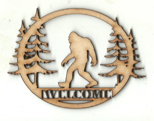 Bigfoot Scene Welcome Sign - Laser Cut Wood Shape SGN103