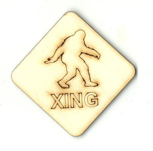 Bigfoot Crossing Sign - Laser Cut Wood Shape SGN114