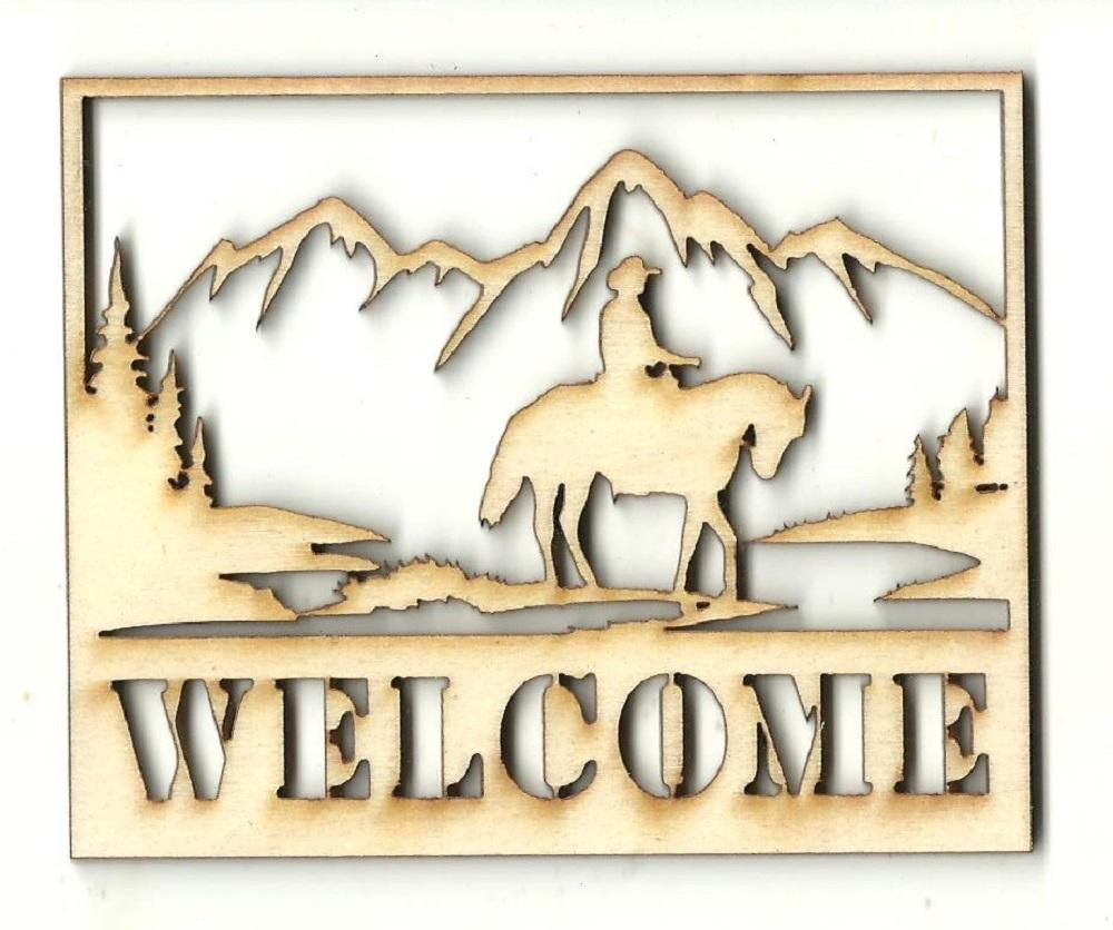 Cowboy & Horse Welcome Sign - Laser Cut Wood Shape Sgn11 Craft Supply