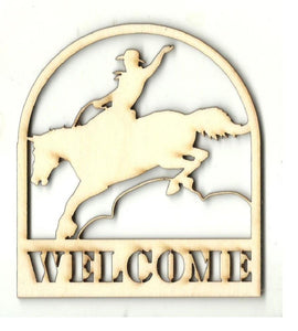 Cowboy & Horse Welcome Sign - Laser Cut Wood Shape Sgn14 Craft Supply