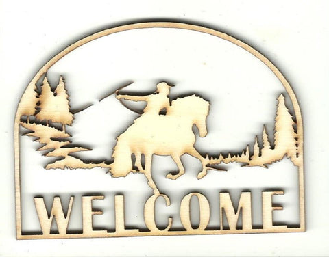 Cowboy & Horse Welcome Sign - Laser Cut Wood Shape Sgn15 Craft Supply