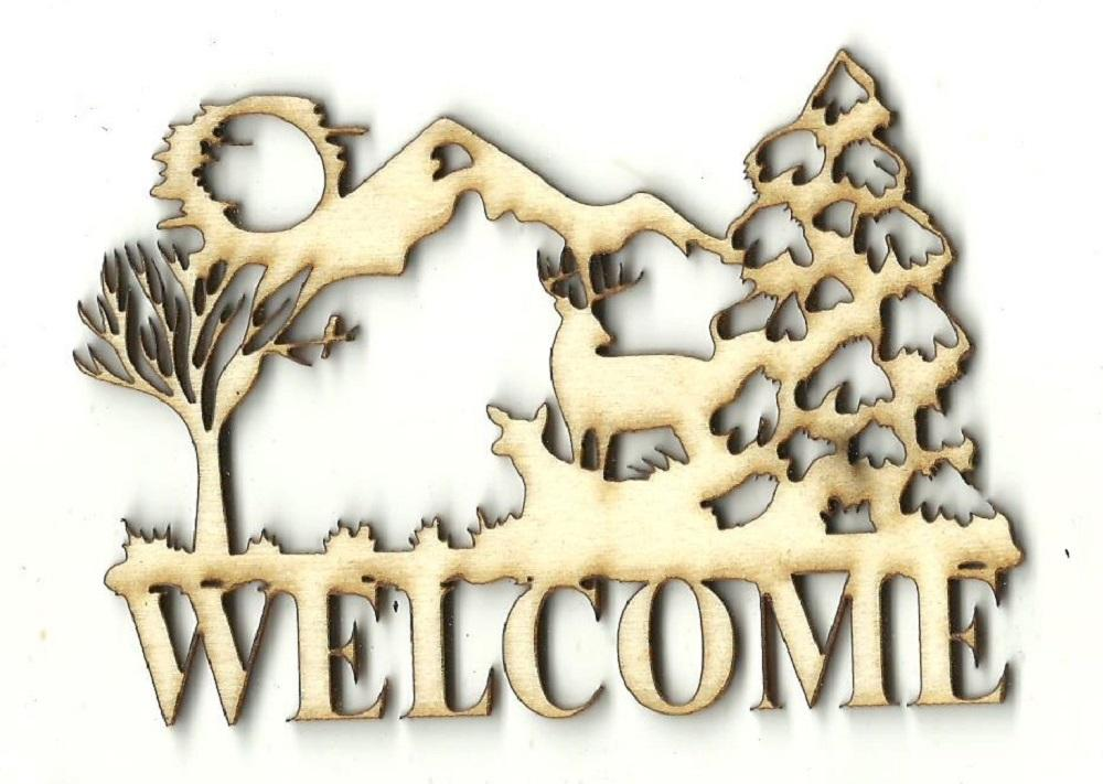 Deer Scene Welcome Sign - Laser Cut Wood Shape Sgn16 Craft Supply