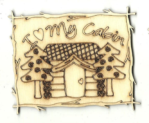 Cabin Picture - Laser Cut Wood Shape Sgn95 Craft Supply