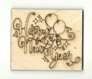 Happy New Year - Laser Cut Wood Shape Sgn96 Craft Supply