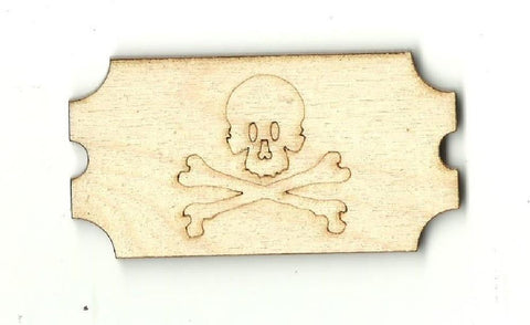Skull & Crossbones Ticket - Laser Cut Wood Shape Skl12 Craft Supply