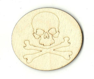 Skull & Crossbones - Laser Cut Wood Shape Skl13 Craft Supply