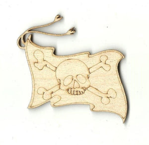 Pirate Flag Skull & Crossbones - Laser Cut Wood Shape Skl15 Craft Supply