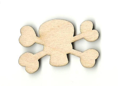 Skull & Crossbones - Laser Cut Wood Shape Skl18 Craft Supply