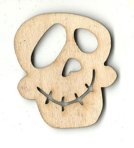 Happy Skull - Laser Cut Wood Shape Skl29 Craft Supply