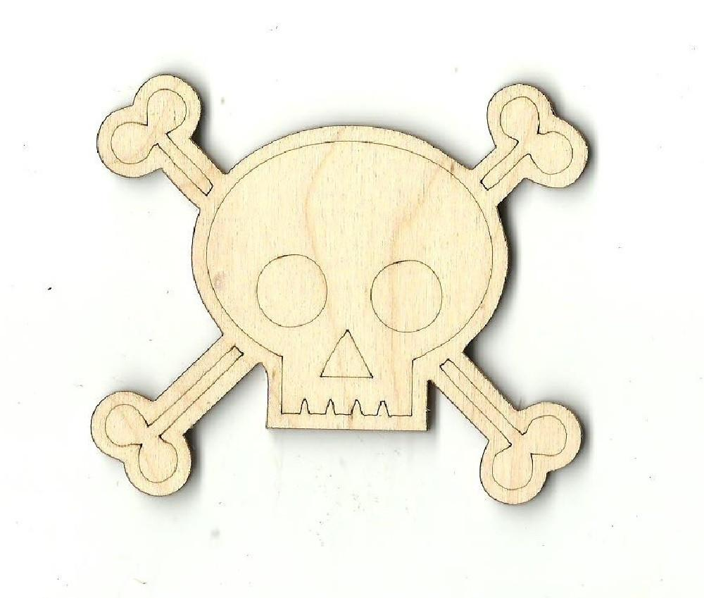 Skull & Crossbones - Laser Cut Wood Shape Skl2 Craft Supply