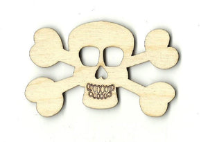 Skull & Crossbones - Laser Cut Wood Shape Skl3 Craft Supply