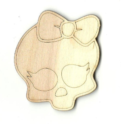 Girl Skull - Laser Cut Wood Shape Skl5 Craft Supply