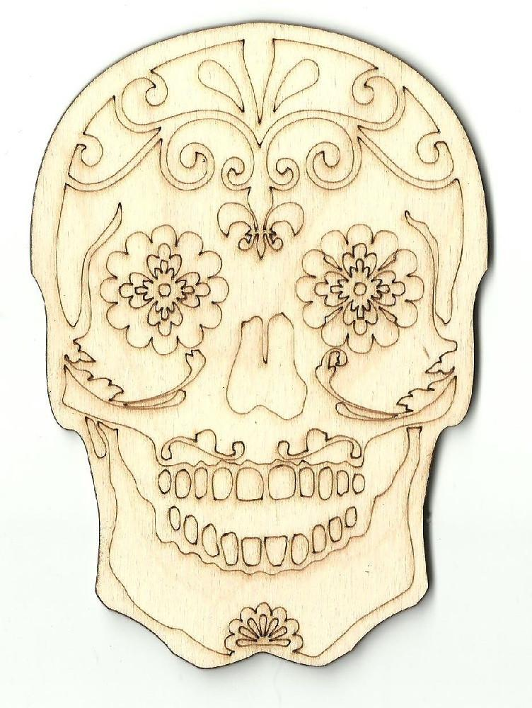 Day Of The Dead Skull - Laser Cut Wood Shape Skl6 Craft Supply