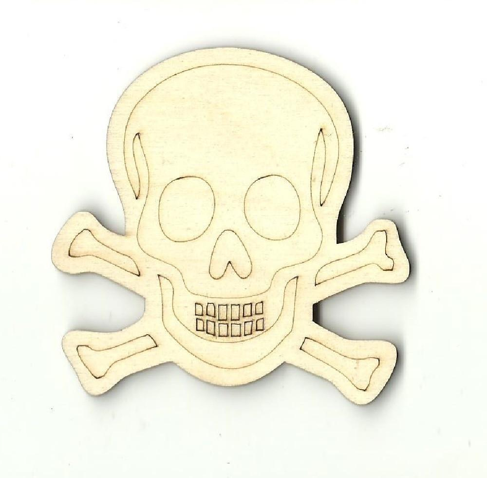 Skull & Crossbones - Laser Cut Wood Shape Skl7 Craft Supply