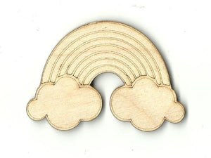 Rainbow With Clouds - Laser Cut Wood Shape Sky25 Craft Supply