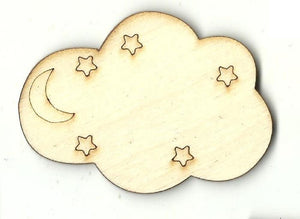 Cloud With Stars - Laser Cut Wood Shape Sky71 Craft Supply
