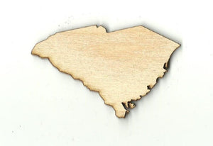 South Carolina Us State - Laser Cut Wood Shape Craft Supply