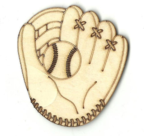 Baseball Mitt & Ball - Laser Cut Wood Shape SPT153
