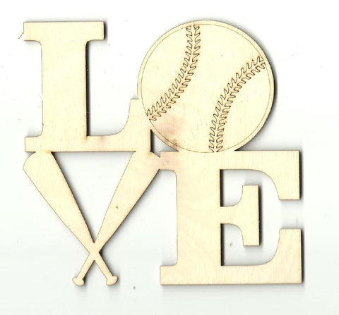 Baseball Love - Laser Cut Wood Shape SPT374